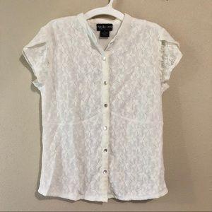 🎈 5/$10 Style & Co Lace Button Down Blouse